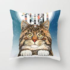 Feline Forest Throw Pillow by Sandra Dieckmann - $20.00