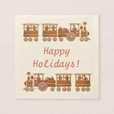 2 Cute Gingerbread Xmas Steam Trains Cartoon Napkin