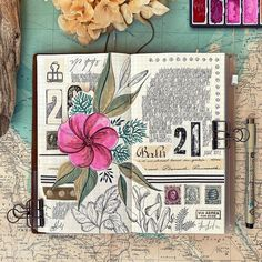 Estelle's Happy Journaling ! (@lululaberlue.e) • Instagram photos and videos Book Binder, Mixed Media Journal, Handmade Journals, Gouache Painting, Travelers Notebook, Journal Pages, Botanical Illustration, Vintage Paper, Journaling