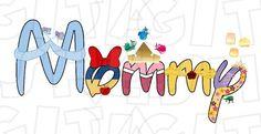 Mommy Disney text Princesses in a word Digital Iron on Disney Princess Characters, Disney Princesses, Logo Word, Disney Shirts For Men, Transfer Paper, Art Images, Clip Art, Digital, Words