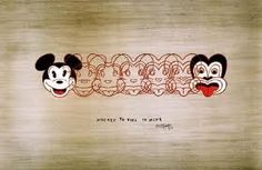 """""""Mickey to Tiki Tu Meke"""" is a wonderful print by one of New Zealand's favourite artists, Dick Frizzell. Frizzell has humourously morphed Mickey Mouse into the tiki, a New Zealand design icon. Maori Designs, New Zealand Art, Nz Art, Maori Art, Kiwiana, Thing 1, Chef D Oeuvre, Framed Prints, Art Prints"""