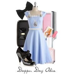 Dapper Day Alice by captaincatwoman on Polyvore featuring Collection Good for the Sole, Topshop, American Apparel, Forever New, Clinique, Essie, Paul & Joe, clothes, disney and alice in wonderland