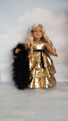 18 inch doll clothes - Last One! - #268 Gold Polka Dot Ruffled Gown handmade to fit the American Girl Doll