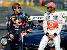 Sebastian Vettel and Lewis Hamilton before the drivers parade; Australian Grand Prix, 2012