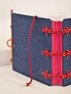 Jeans covered journal Hira Kara Fire 6x6 от BlockOfNotes2 на Etsy