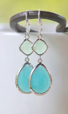 Large Turquoise Teardrop and Mint Diamond Dangle