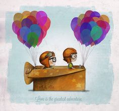 Great wedding gift for the Disney lover UP Pixar — Love is the greatest adventure Art Print by Ciara Panacchia Disney Up, Disney Amor, Arte Disney, Disney Magic, Disney Movies, Disney Characters, Fictional Characters, Up Pixar, Up Carl Y Ellie