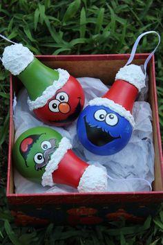 Sesame Street hand painted ornament set. Oscar, Cookie Monster,Elmo by DesignsbyJodyRife on Etsy