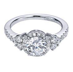 More diamonds please! A Gabriel & Co. Three-Stone Diamond Engagement Ring.