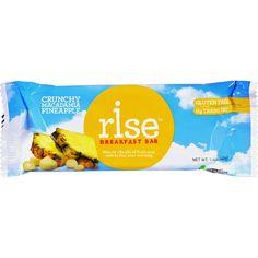 Rise Bar Breakfast Bar - Crunchy Macadamia Pineapple - Case of 12 - 1.4 oz - 100% all natural and gluten free.Ingredients: Macadamias, Honey, Pineapples (pineapple, cane sugar, citric acid) , Raisins, Sesame Seeds, Amaranth, Crisp Rice, Salt Organic: NA Gluten Free: Gluten Free Dairy Free: No Yeast Free: No Wheat Free: No Vegan: No Kosher: Yes GMO Free: NA Summer Melt Risk? No Country Origin: NA Dimensions: 7.39 in. L x 5.53 in. W x 2.19 in. H Pack: 12 Size: 1.4 OZ Selling Unit: case. Health…