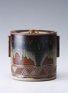 """Miraku Kamei XV, Water container (mizusashi), ame-yu glaze, stoneware, 6.5 x 6.75 x 6.75"""""""