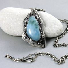 larimar necklace by wazkastudio on Etsy Silver Jewelry, Gemstone Rings, Ocean, Pearls, Sterling Silver, Crystals, Handmade, Etsy, Shop