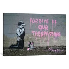 iCanvas Forgive Us Our Tresspassing Gallery Wrapped Canvas Art Print by Banksy