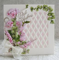 Best Wishes. Carnation Crafts and Tattered Lace Homemade Christmas Cards, Homemade Cards, Tattered Lace Cards, Craft Stash, Carnations, Flower Cards, Flower Making, Hobbies And Crafts, Vintage Cards