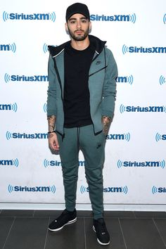 Visiting SiriusXM Studios in New York City in Nike Tech Fleece.