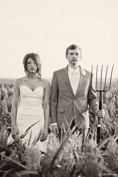 Southern Vintage has a vintage pitchfork for rent  if you want to recreate this adorable picture