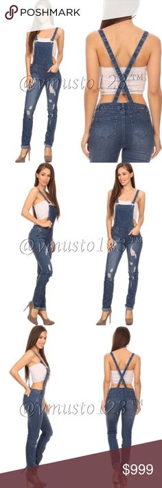 """DESTROYED DENIM OVERALLS MEDIUM WASH Slimming trendy overalls are back in fashion! Get them now and quickly as I have limited stock. Fits slightly small so recommended sizes are: S(0-2) M(4-6) L(8-10) XL (12-14) Inseam apprx 30"""" - great quality and so adorable on! Price is absolutely firm unless bundled as these were expensive. ValMarie Boutique Jeans Overalls"""