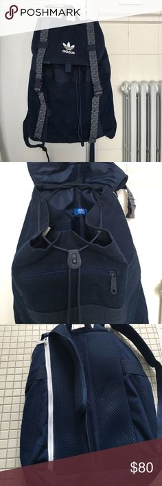 Adidas blue backpack ONLY AVAILABLE UNTIL JUNE 8!!! Adidas navy blue backpack with white accents. Drawstring closure with flap covering that buckles. Front zipper pocket. Padded back, padded straps, and side zipper at back for computer. Never used. Adidas Bags Backpacks