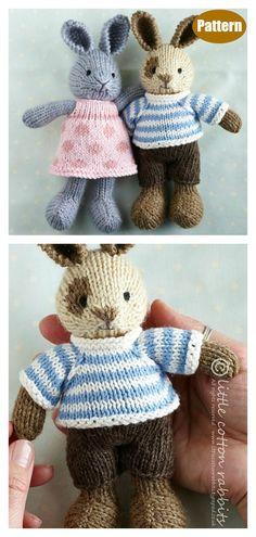 Adorable Bunny Knitting Pattern – The Best Ideas Baby Knitting Patterns, Knitting Kits, Free Knitting, Knitting Toys Easy, Sweater Patterns, Knitted Bunnies, Knitted Animals, Knitted Dolls Free, Knitted Stuffed Animals