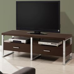 Maeve Cappuccino & Chrome TV Stand 700774