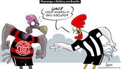Charge do Dum (Zona do Agrião) sobre as mudanças de mando de campo do Flamengo (10/07/2016). #Charge #Dum #Brasileirão #CampeonatoBrasileiro #Atlético #Flamengo #Estádio #HojeEmDia