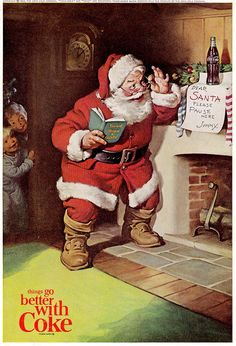 Santa illustration for Coca-Cola, Haddon Sundblom, 1963