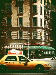 Urban Scene with Yellow Cab on the Upper West Side of Manhattan, NYC, Vintage Colors Photography Photographic Print by Philippe Hugonnard at...
