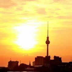 The sun setting behind the TV tower taken from O2World