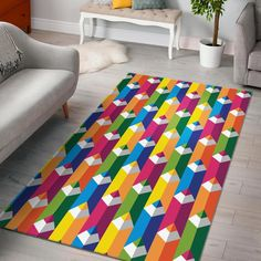 Colorful Pencil Pattern Print Home Decor Rectangle Area Rug
