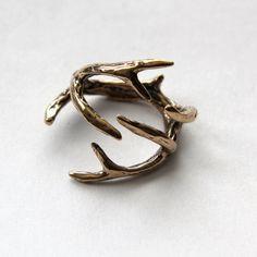 Jewelers Bronze Whitetail Deer Antler Ring  Moon Raven by mrd74, $59.00