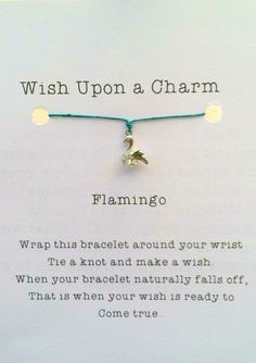 Flamingo Wish Bracelet, Rhodium Silver & Cubic Zirconia, Good Luck, Best Friend Gift