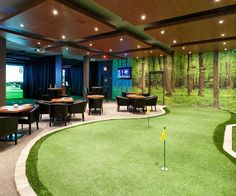 60 Game Room Ideas For Men - Cool Home Entertainment Designs - - Discover the pleasure of entertainment comforts with the top 60 best game room ideas for men. Explore cool designs from arcades to gaming spaces and more. Home Golf Simulator, Indoor Golf Simulator, Indoor Putting Green, Backyard Putting Green, Home Putting Green, Home Entertainment, Golf Man Cave, Sports Man Cave, Men Cave
