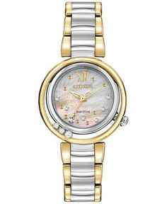 Citizen Women's Eco-Drive L Series Sunrise Diamond Accent Two-Tone Stainless Steel Bracelet Watch 29mm EM0324-58D - Brought to you by Avarsha.com