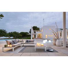 Accoudoir gauche de jardin en aluminium blanc et coussins bleu ...