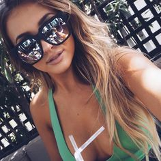 """Gorgeous @sarahhashcroft wearing the ON THE PROWL Sunglasses Black by Quay Australia  Selling out fast!! Shop  www.whitefoxboutique.com or click the…"""