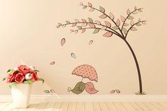 Adesivo de Parede Árvore Papai Mamãe  passarinhos