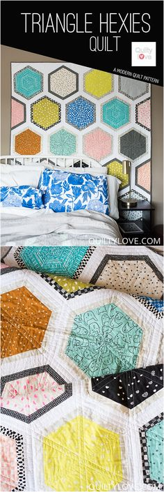 Cotton and Steel Triangle Hexies quilt pattern by Emily of Quiltylove.com. Modern hexie quilt. Easy beginner friendly fat quarter quilt pattern.