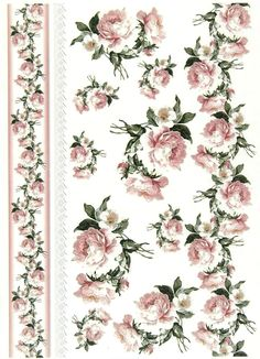 Soft Decoupage Paper,Scrapbooking Sheets ,Craft Paper Vintage Roses and Border