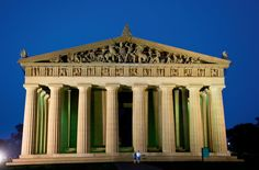 A full-scale replica of the Parthenon stands in the center of Centennial Park in Nashville, Tennessee built in 1897.