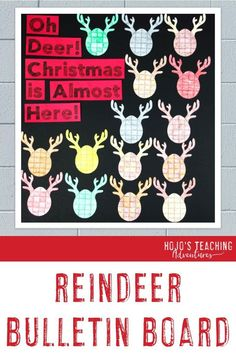 This reindeer bulletin board works great for December or Christmas decor. Click through to see how you can have students help with this NO PREP activity. Great for 1st, 2nd, 3rd, 4th, or 5th grade. #ChristmasBulletinBoard #BulletinBoard #ChristmasHallwayDisplay #ChristmasDecor #Elementary #ElementaryBulletinBoard Reindeer Bulletin Boards, Christmas Bulletin Boards, Winter Bulletin Boards, Elementary Bulletin Boards, Preschool Bulletin, Elementary Library, 4th Grade Classroom, Classroom Decor, Christmas Activities