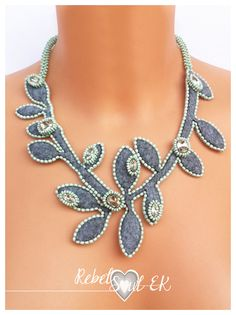 crystal bead necklace necklace with crystal felt leaves rhinestones necklaces for women leaf necklace gift ideasartisan jewelry RebelSoulEK