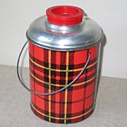 Huge Vintage 1950s Picnic Thermos Red Black Gold Plaid by Faris