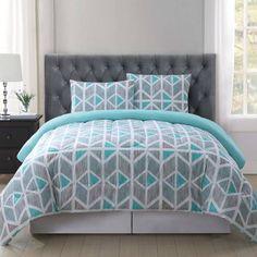 image of Truly Soft Malene Quilt Mini Set in Grey/Aqua Teal Bedding Sets, Elegant Comforter Sets, Teal Comforter, Bedroom Comforter Sets, King Bedding Sets, Luxury Bedding Sets, Bedroom Sets, Grey And Teal Bedding, Bed Sheets