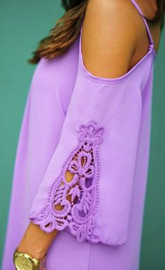 Lilac Embroidered Details Dress