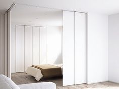 夫婦の寝室 Small Bedroom Inspiration, Home Decor Inspiration, Flat Interior, Apartment Interior, Temporary Wall Divider, Waiting Room Design, Moving Walls, Movable Walls, Decoration