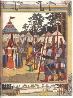 "Illustration for the Russian Fairy Story ""Maria Morevna"" - Ivan Bilibin Art And Illustration, Illustrations, Ivan Bilibin, Russian Folk, Russian Art, Fairy Land, Fairy Tales, Art Database, Conte"