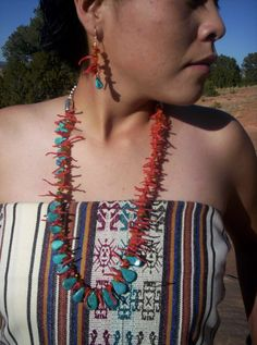 Branch Coral and Tear Drop Turquoise Necklace by CRoanCollections