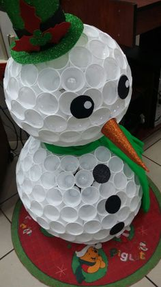 Snow-man made of plastic cups very clever