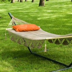 Island Bay Large Nicaraguan Fringed Double Hammock with Stand