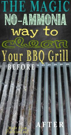 Magic No Ammonia Way to Clean Your BBQ Grill - We had a HUGE positive response to #cleaning #BBQ grills with #ammonia! However, we also received  comments from a lot of followers who prefer not to use ammonia in household cleaning. We did some more research on Pinterest and guess what? We found the next best method to get a BBQ grill clean without ammonia that requires little or no scrubbing!